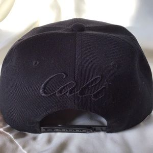 "Accessories - NWOT- Black Embroidered ""Cali"" SnapBack"